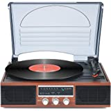 Record Player Bluetooth Turntable with Stereo Speakers Portable Belt-Driven Nostalgic LP Vinyl Record Player with FM Stereo Radio Line Output
