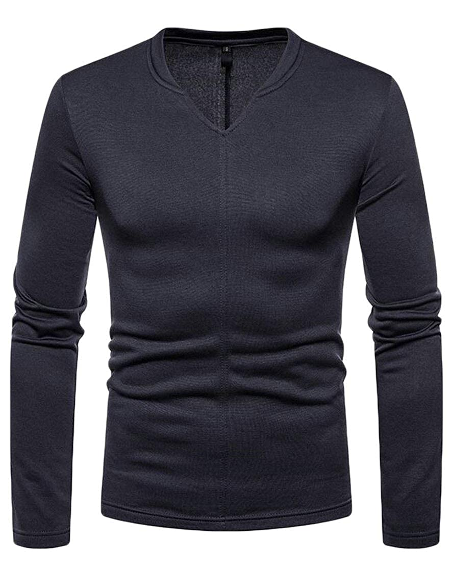 XTX Mens Solid Color Fleece Long Sleeve Slim V-Neck Warm T-Shirt Tee Top