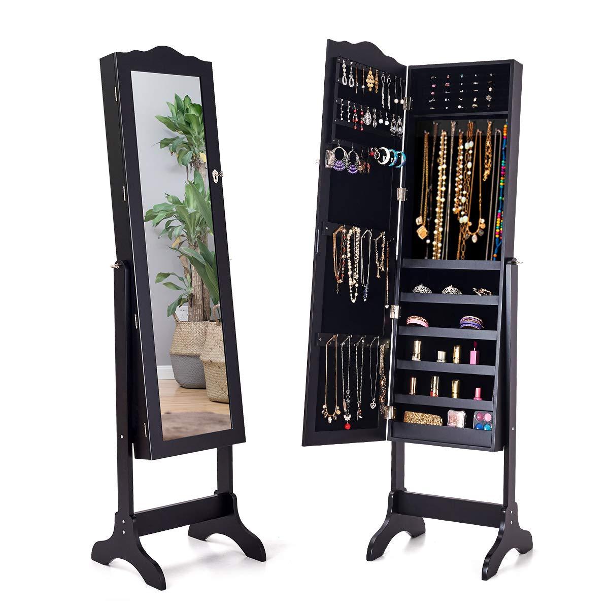 Giantex Jewelry Box Armoire With Mirror Standing Jewelry