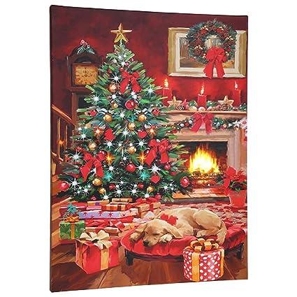 Amazon.com: RAZ Imports Christmas LED Canvas Print - Lighted Picture ...