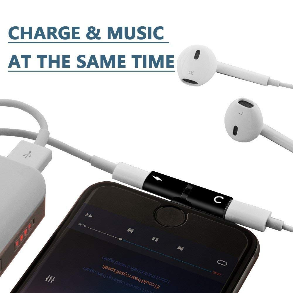 Dual Jack Aux Audio /& Charging /& Calling /& Sync Cable Connector Earphone Charger CASRO 2 in 1 Compatible Adapter /& Splitter for iPhone 7//7 Plus 8//8 Plus//X