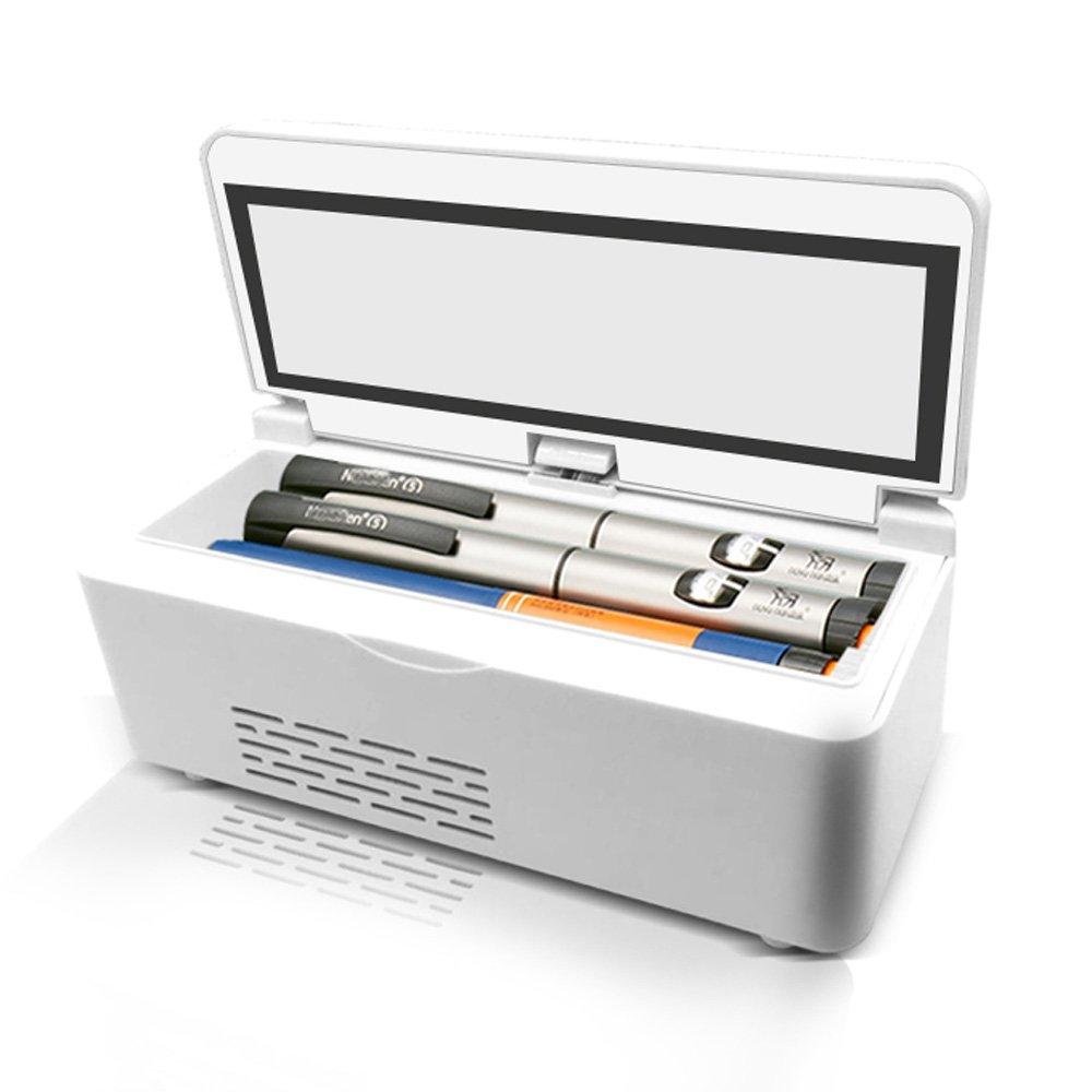 Insulin-Kühlbox XXGI Medizin Kühlschrank Mini Wiederaufladbare Tragbare Insulin Kühler Box Reisetasche2-8 ° C Insulin Kühler Mini Kühlschrank Auto Insulin Box (21X10X9,5 cm (8,27X3,94X3,74 Zoll)