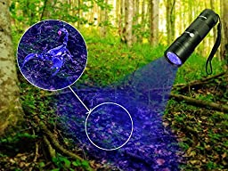 TaoTronics TT-FL001 UV Flashlight Blacklight, Dog Urine and Stains Detector, 12 Ultraviolet LED Light with AAA Batteries