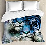 How Big Is a King Size Bed TocaHome Skinny Decorative Duvet Cover for Bedroom, Two Tiger Safari Cat African Wild Furious Life Big Animals Artwork Print,KING Size