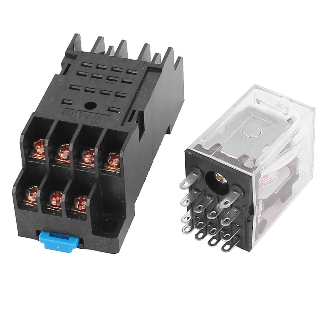 sourcingmap® HH54P-L AC 110/120V Relé de alimentación bobina 14pines 4PDT Carril DIN de 35 mm rojo w Toma de la luz uxcell US-SA-AJD-160961