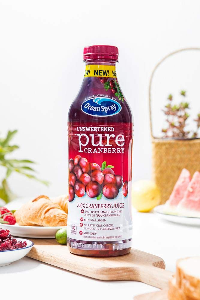 Amazon Com Ocean Spray Juice Unsweetened Pure Cranberry 33 Ounce Pack Of 8 Grocery Gourmet Food