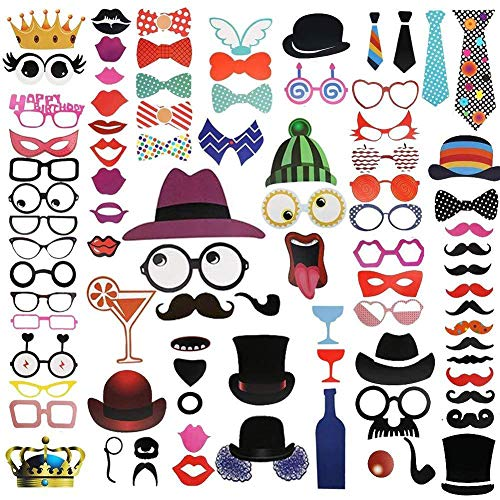 90 pcs/set Wedding Photo Booth Props Party Decorations Supplies Mask Mustache Beard hat glasses tie For Fun Favors Photobooth Photocall Halloween Birthdays Graduate Party Selfie Dress-up Accessories