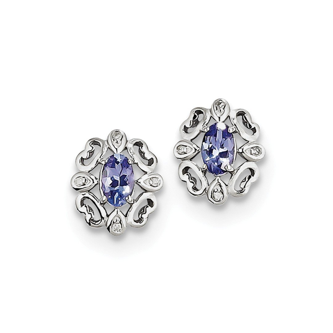 ICE CARATS 925 Sterling Silver Diamond Blue Tanzanite Round Post Stud Ball Button Earrings Fine Jewelry Gift Set For Women Heart