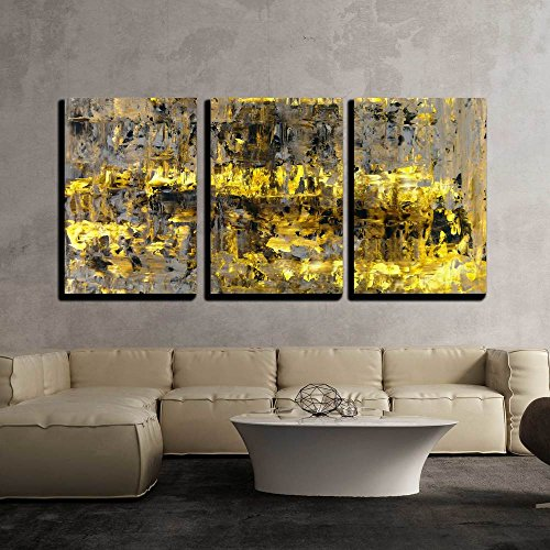"""wall26 - 3 Piece Canvas Wall Art - Brown and Yellow Abstract Art Painting - Modern Home Art Stretched and Framed Ready to Hang - 24""""x36""""x3 Panels"""
