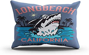 Moladika Throw Pillow Cover 12x24 Inch Lumbar Shark Illustration California Long Beach Cushion Home Decor Living Room Sofa Bedroom Office One Side Design Printed Pillowcase
