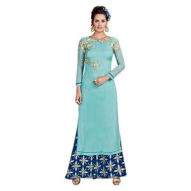 5ba37e77060 Bleu Stitched Designer bollywood indien Straight salwar kameez with Plazo  kaftaan jupe longue avec une veste