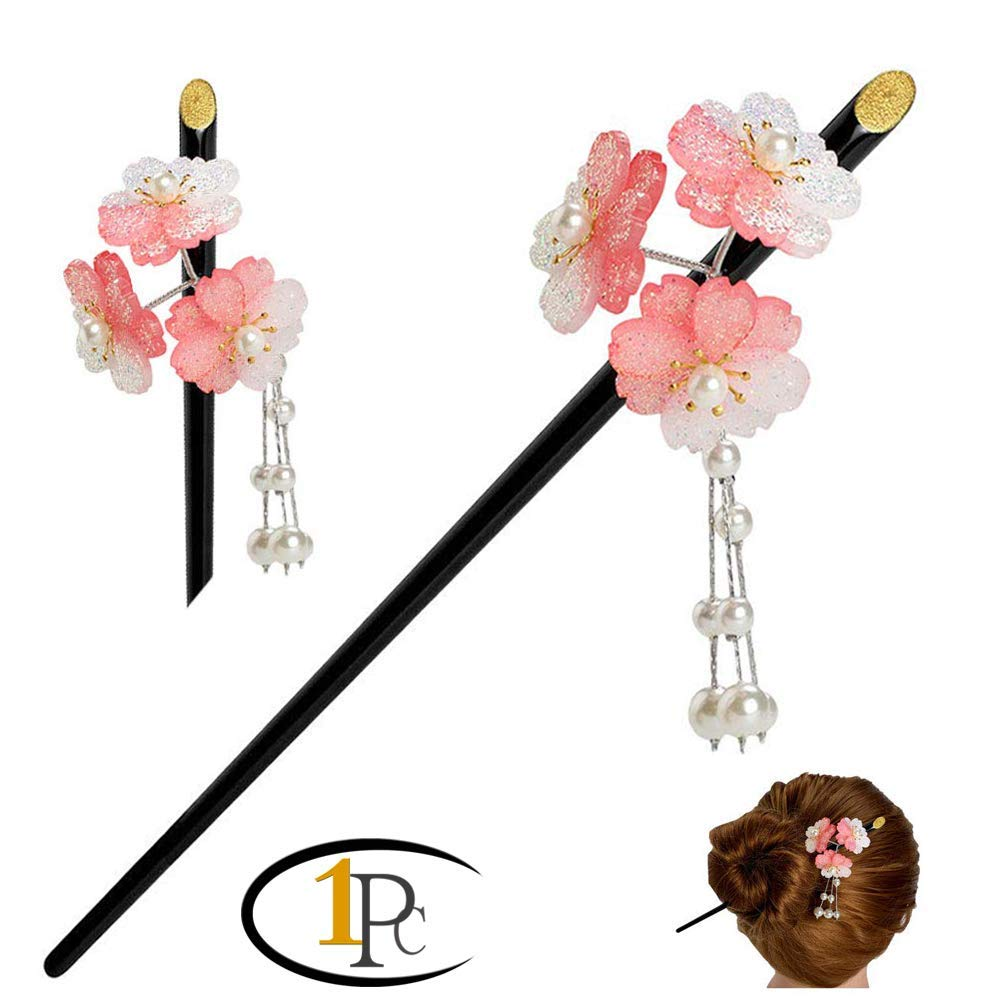 Geisha Hair Stick with Red Acrylic Cherry Blossom Cluster and Tassel (Pink) by FINGER LOVE