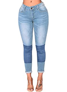 35d37f16486855 GOSOPIN Womens Ankle Length Destroyed Denim Hole Trousers Skinny ...