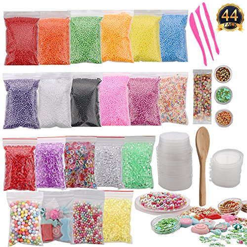 SUBANG 44 Packs Slime Making Kit Including Foam Balls,Fishbowl Beads,Candy,Pears,Storage Containers,Confetti,Fruit Slices,Tools And Wooden Spoon For Slime Making