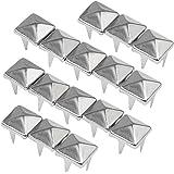 TRIXES Tachuelas de pirámide plateadas (200 piezas de 7 mm) para prendas de vestir con remache de níquel para cinturones, bolsos de cuero (estética Punk)