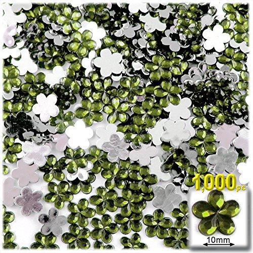工芸のアウトレット1000-pieceアクリルアルミ箔フラットバックフラワーラインストーン、10mm、オリーブグリーン
