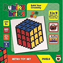 Strictly Briks Rubik's Briks 1x1 Retro Toy Pixel Set   STEM Toys Officially Licensed by Rubik's Cube Makers   3-in-1 Mosaic Art   Rubiks Cube, Viewer, Cassette Tape   32x32 Baseplate & 883 Brick Tiles