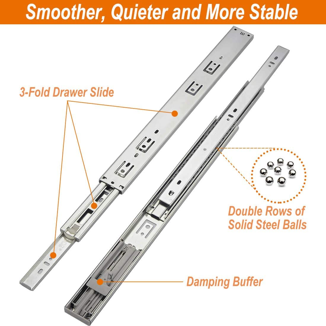 Full Extension Ball Bearing Side Mount Drawer Slides for Cabinets with Face Frame 1 Pair with Rear Mounting Brackets Soft Close Drawer Slides 12 Inch