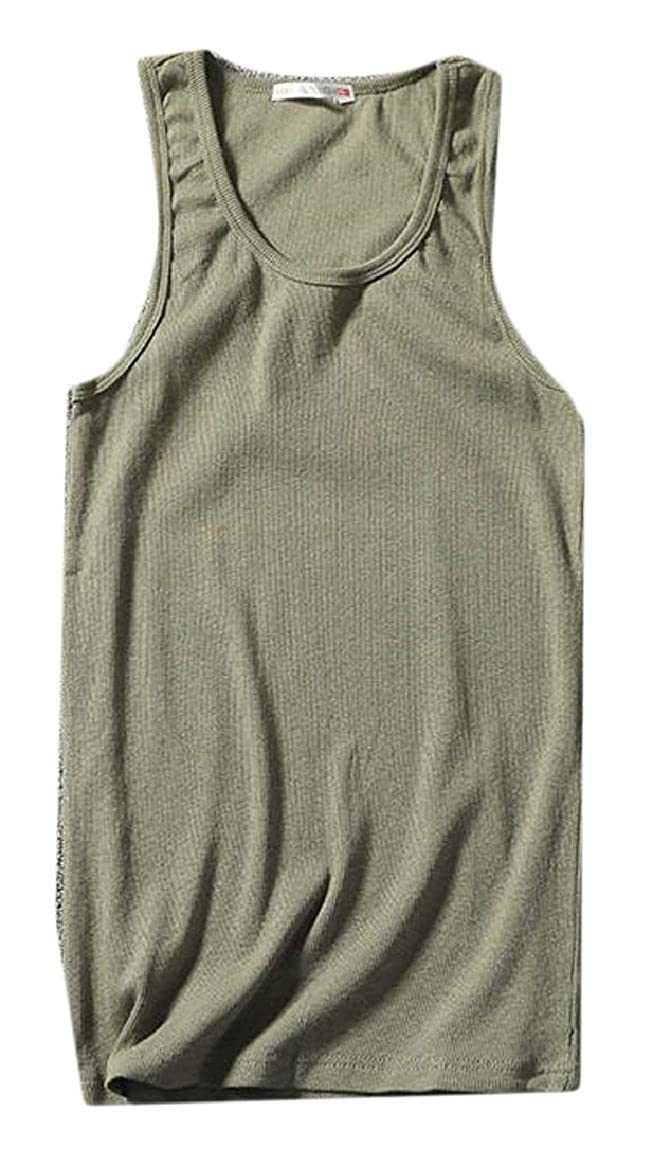 ONTBYB Mens Solid Racerback Loose Fit Tank Top Shirt