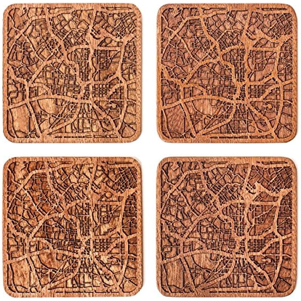 San Coasters Antonio Map By O3 Design Studio Set Of 4 Sapele Wooden With City Ebay