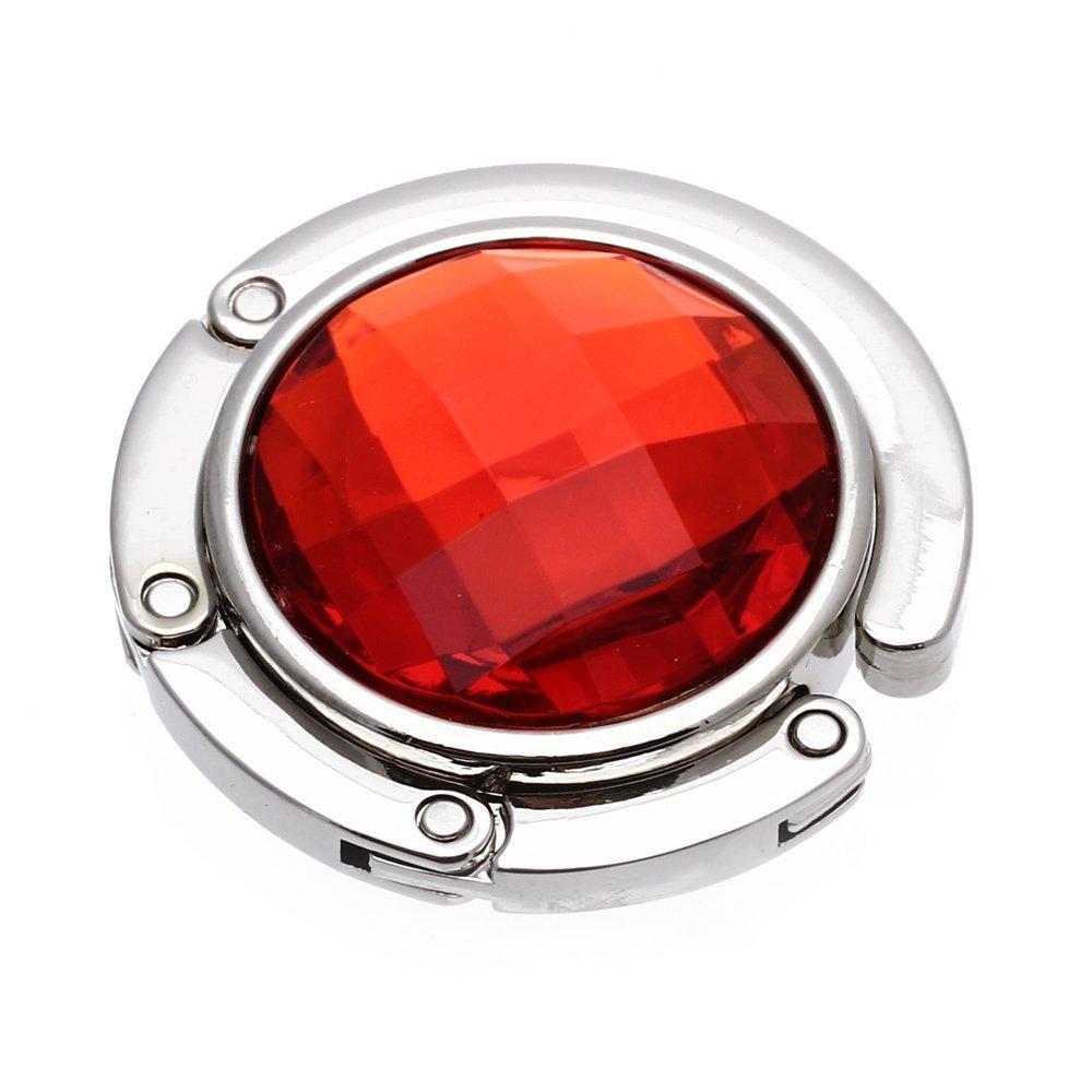 SODIAL(R)Attache/Crochet pliant de sac A main en cristal portable pour les femmes rouge LEPAZIK4599