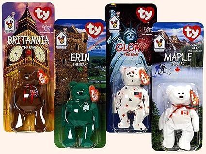 TY - McDonalds - International Bear Collection - Teenie Beanie Babies  (1999) - Britannia, Erin, Maple & Glory Bears by Ty