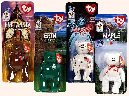 Britannia Collection - TY - McDonalds - International Bear Collection - Teenie Beanie Babies (1999) - Britannia, Erin, Maple & Glory Bears by Ty