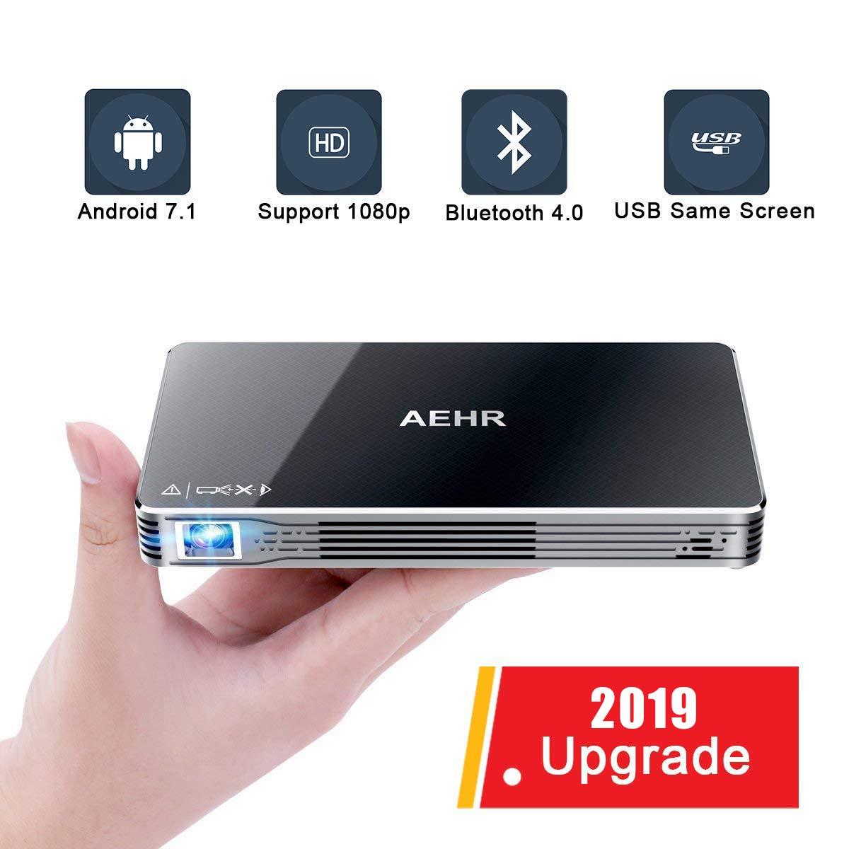 プロジェクター、ミニプロジェクター、ポータブルビデオプロジェクター Bluetooth Android 7.1付き スマートフォン用 Wi-Fi、HD 1080P 120インチ ホームシアターピコプロジェクター、有線およびワイヤレス対応 同じ画面 B07FZXNZW8