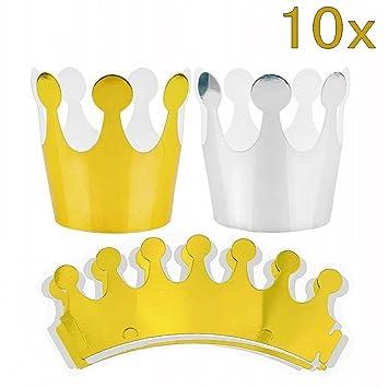 JZK 5 x Dorado + 5 x Plata, Corona Papel Sombrero Princesa niños príncipe Corona Fiesta favores Accesorios decoración Fiestas cumpleaños