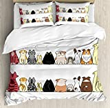 Kids Queen Size Duvet Cover Set by Ambesonne, Cats and Dogs Collie Calico Labrador Scottish Shorthair Tabby Shih Tzu Pet Lovers Art Print, Decorative 3 Piece Bedding Set with 2 Pillow Shams