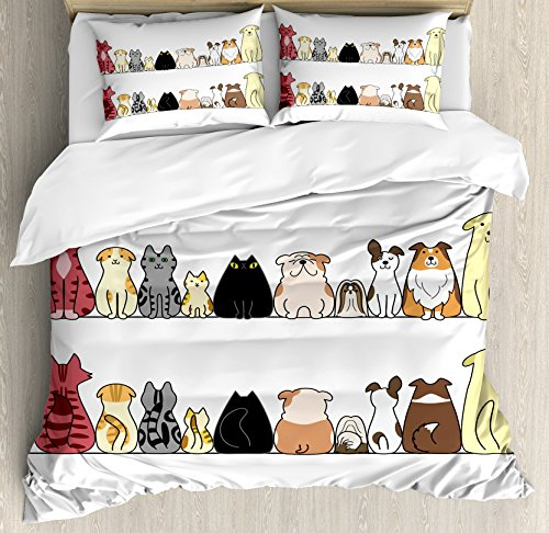 Kids Queen Size Duvet Cover Set by Ambesonne, Cats and Dogs