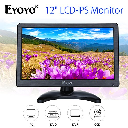 Eyoyo 12 inch HD 1920x1080 IPS LCD HDMI Monitor Screen Input Audio Video Display with BNC Cable for PC Computer Camera DVD Security CCTV DVR Home Office Surveillance (Best Computer Display Monitors)
