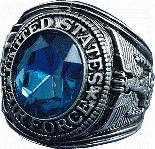 LV US Air Force Blue Crystal Pure Rhodium Plated Ring