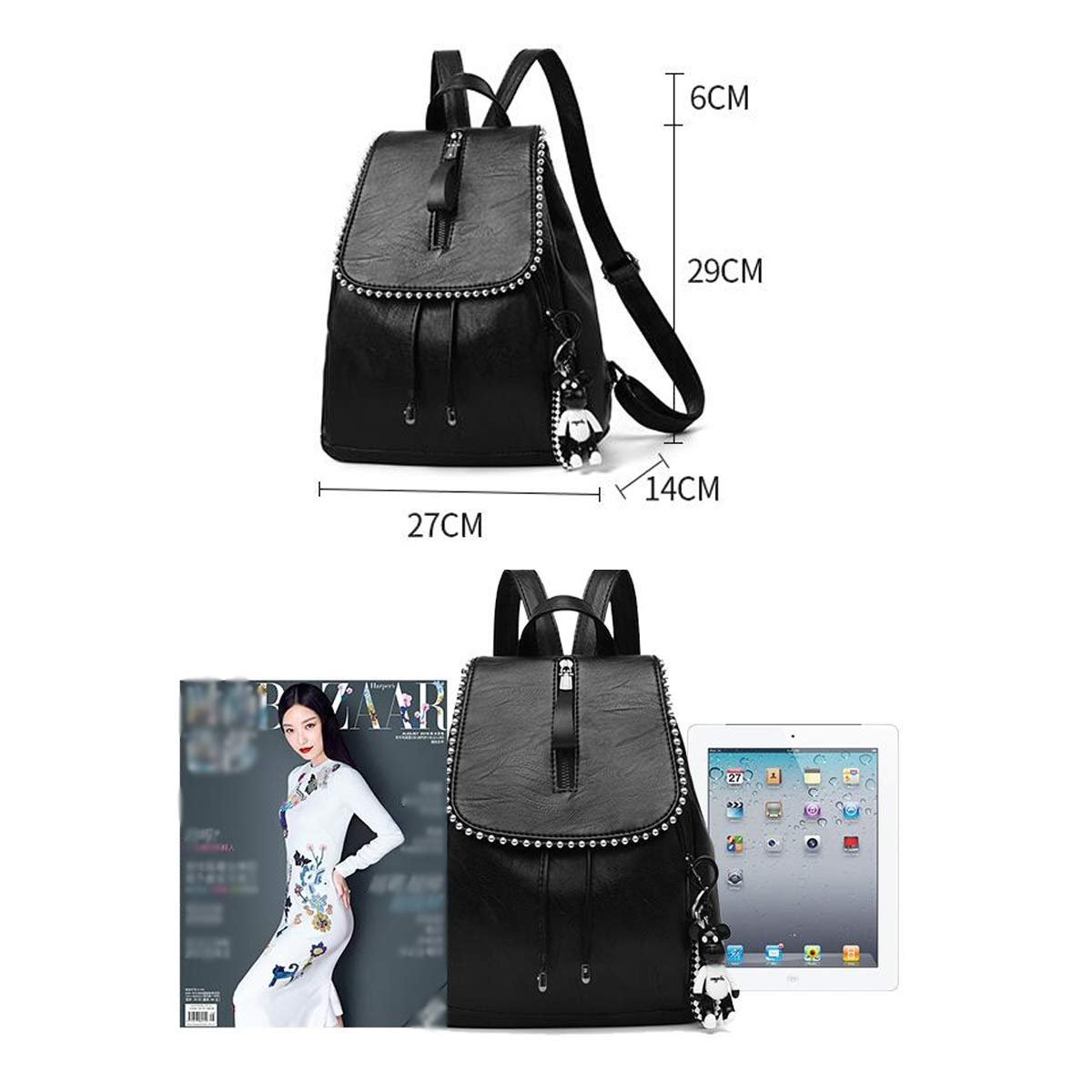 Black Color : Black, Size : 27cm29cm14cm School Travel Work Outdoor Fashion and Leisure PU Leather ZHICHUANG The Girls Versatile Backpack is Perfect for Everyday Travel for Women /& Men