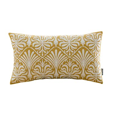HWY 50 Cotton Embroidered Decorative Rectangle Throw Pillow Covers Cushion Cases for Couch Sofa Bed Bedroom Yellow European Simple Geometric Floral Accent Lumbar Pillowcases 12 x 20 inch, 1 Piece