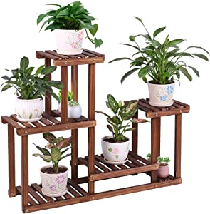 Pine Wood Plant Stand Indoor Outdoor Multi Layer Flower Shelf Rack Higher and Lower Plant Holder in Garden Balcony Patio Living Room (4 Tiers 7 Flowerpots)