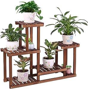 Pine Wood Plant Stand Indoor Outdoor Multi Layer Flower Shelf Rack Higher and Lower Plant Holder in Garden Balcony Patio Living Room (4 Tiers 7 Flowerpots)