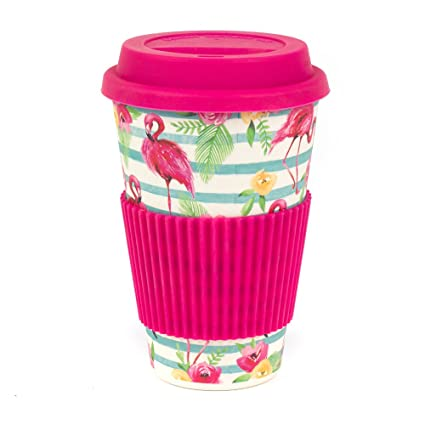 9ab64cede20 Cambridge CM05775 Bamboo Flamingo Reusable Coffee Cup Travel Mug:  Amazon.co.uk: Kitchen & Home