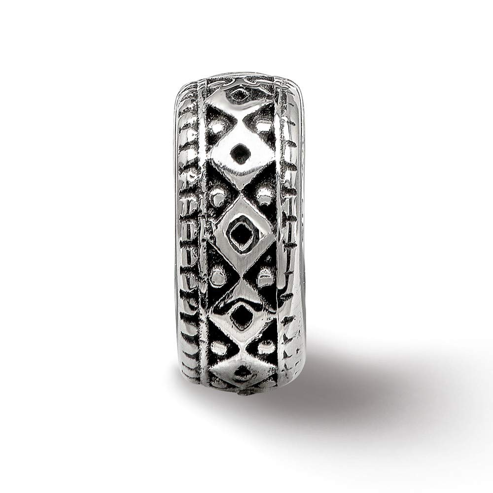 4.2mm x 10.5mm Jewel Tie 925 Sterling Silver Reflections Antiqued-Style Bali Gripper Bead