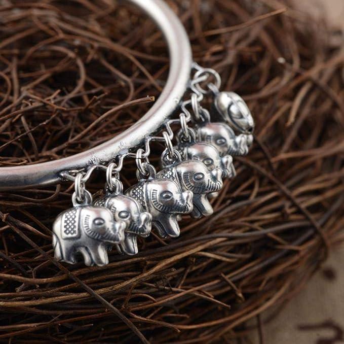 Zuxianwang Pulsera De Plata Mujer,Original Vintage Artesanal Simple Antique S925 Silver Siete Pequeños Elefantes Tailandeses Étnicos Pulsera Ajustable Viento Regalo Joyeria