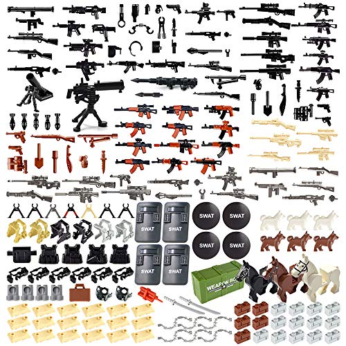 Nicolababe Weapon Pack 200 PCS Accessories Military Weapon Set Incl AK Assault Rifles and Horses Designed for Minifigures Compatible with Minifigures of All Major Brands (Military Weapon)