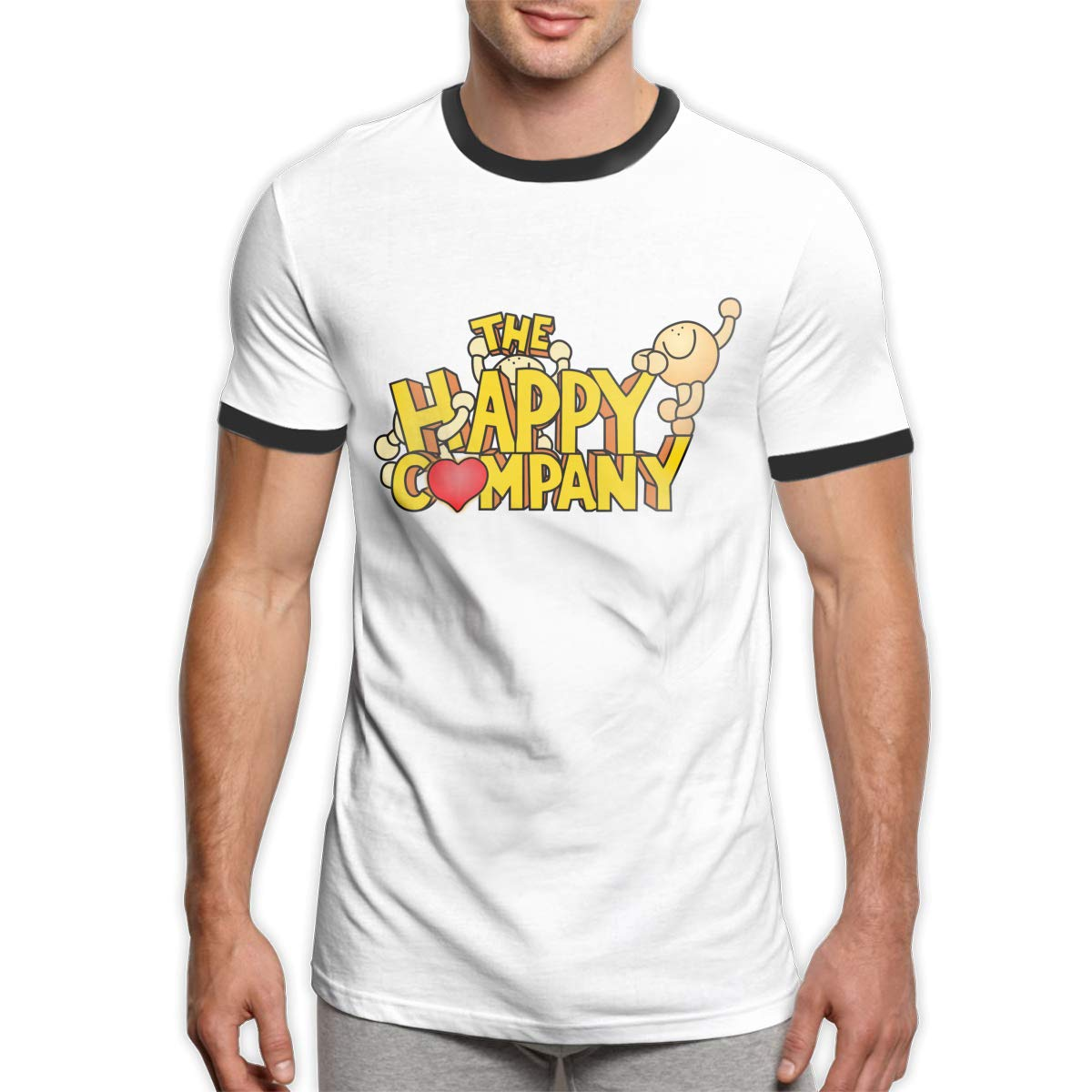 Aqjnvfrj The Happy Comdany Soft and Comfortable Mans T-Shirt with Round Collar and Coloured Short Sleeves Black
