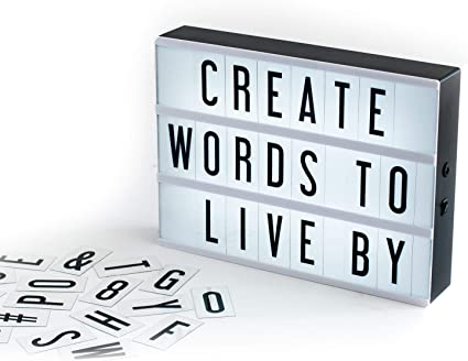 Mini Light Up Message Board A5 Lightbox Light board box cinema style messages