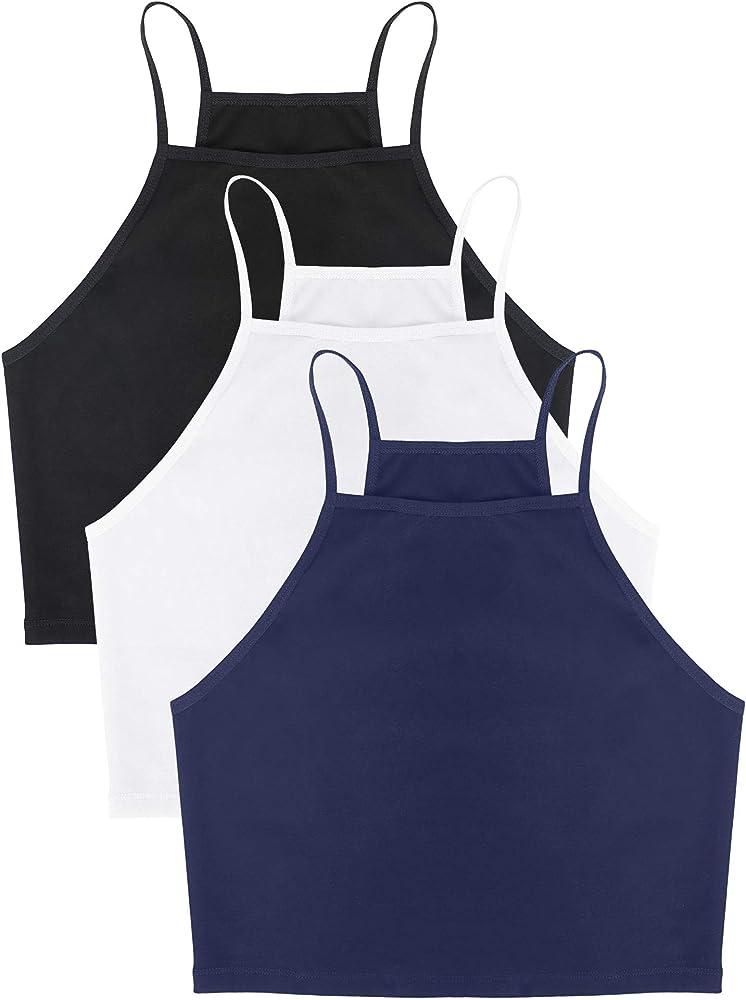 Camisetas de Tirantes Basicas Cuello Hálter Top Halter Mujer Camisetas Cortas sin Mangas para Mujer Negro Blanco Azul Marino L: Amazon.es: Ropa y accesorios