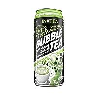 Bubble Tea Inotea Matcha Green Tea Latte Bubble Tea Drink 16.6 oz Can (Pack of 4) with 6 Boba Straws