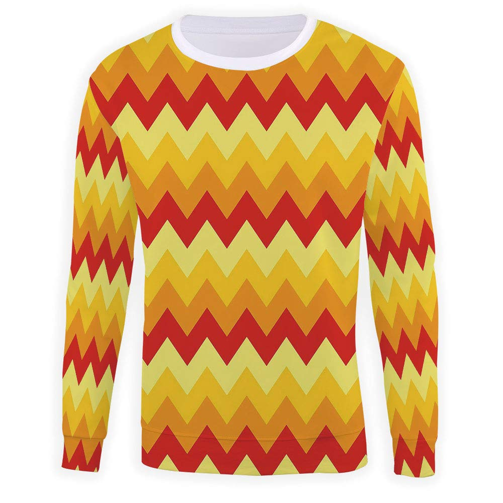 MOOCOM Adult Yellow and White Crewneck Sweatshirt