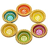(US) Set of 6 Diwali Diyas Colorful Earthen Oil Lamps Hand Crafted with Studded Stones Traditional Multi Color Votive Candle Tea Light Holders Home Festive Decorations