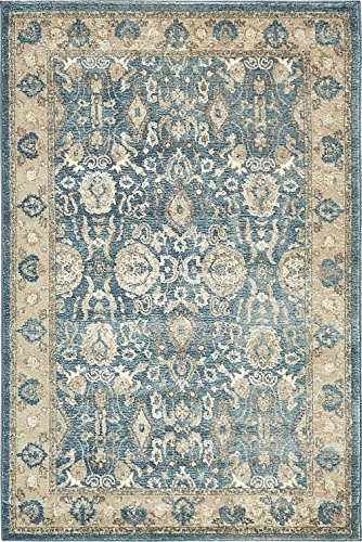 (Luxury Vintage Persian Design ziegler Rug Light Blue 4' x 6' St.George Collection Area Rugs)