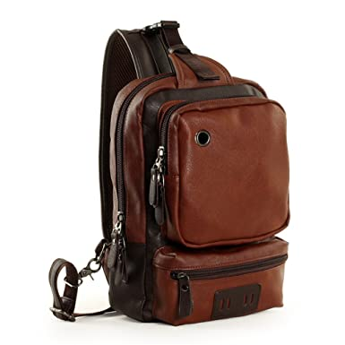 Gumstyle Fashion Men s Leather Cross Body Daypacks Chest Pack Bag Black Blue Brown