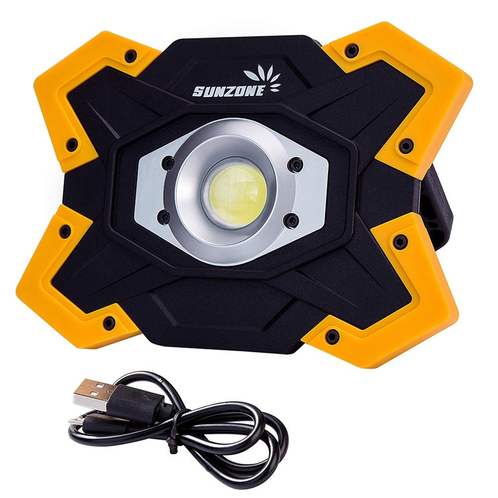 SUNZONE Portable LED COB Work Light,Outdoor Waterproof Flood Lights, for Camping,Hiking,Car Repairing,Workshop,Construction Site,Builtin Rechargeable Battery Power Bank and SOS Emergency Mode Sunzone Limited